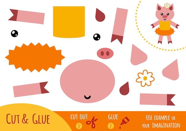 Bildungspapierspiel für kinder, schwein. verwenden sie schere und kleber, um das bild zu erstellen.