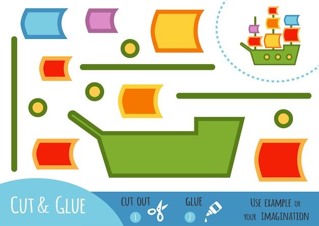 Bildungspapierspiel für kinder, segelschiff. verwenden sie schere und kleber, um das bild zu erstellen.