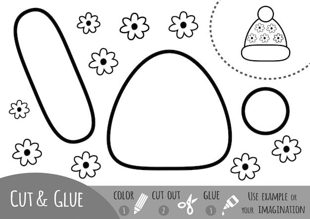 Bildungspapierspiel für kinder strickmütze verwenden sie farbstifte, schere und kleber