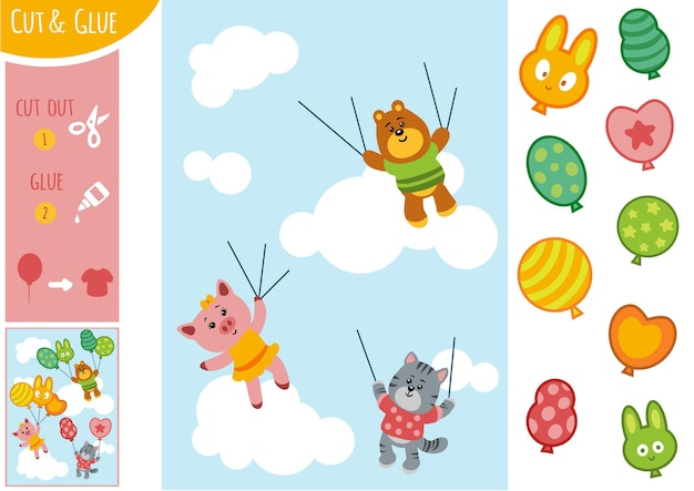 Bildungspapierspiel für kinder, tiere und ballons. verwenden sie schere und kleber, um das bild zu erstellen.