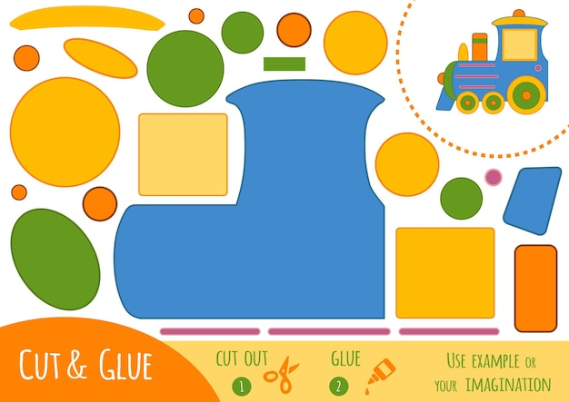 Bildungspapierspiel für kinder, zug. verwenden sie schere und kleber, um das bild zu erstellen.
