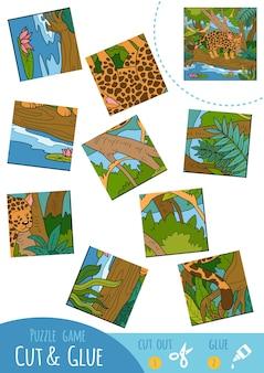 Bildungspuzzlespiel für kinder, jaguar. verwenden sie schere und kleber, um das bild zu erstellen.