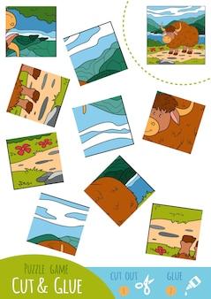 Bildungspuzzlespiel für kinder, yak. verwenden sie schere und kleber, um das bild zu erstellen.