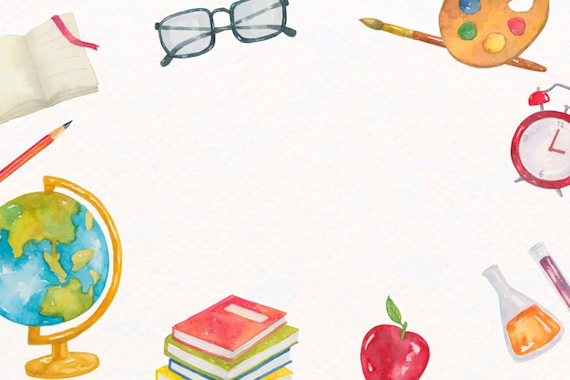 Bildungsrahmenvektor der wesentlichen bestandteile des klassenzimmers in aquarell Kostenlosen Vektoren