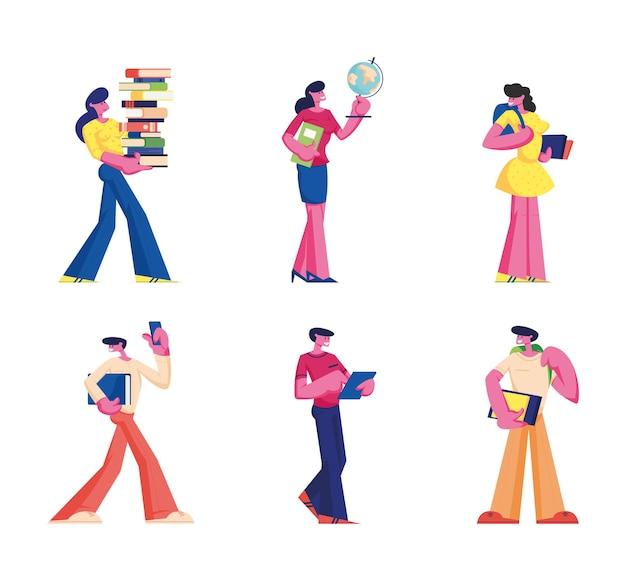Bildungsset. männer und frauen schüler mit büchern und lehrer mit globus bereiten sich auf den unterricht vor. karikatur flache illustration