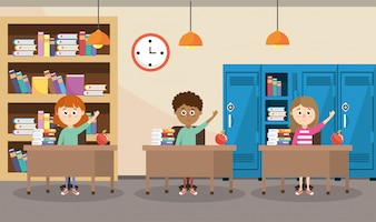 Bildungsstudenten im Schreibtisch mit Bücherregal und Schließfächern