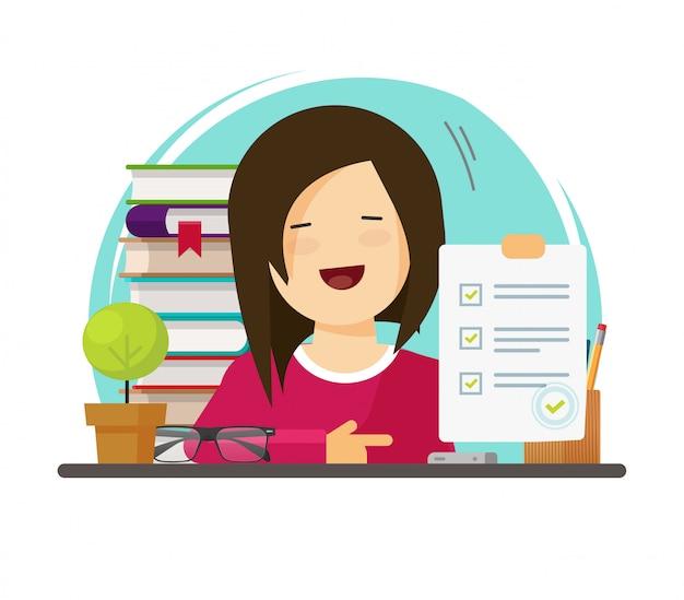 Bildungsuniversitätsprüfung oder schulfragebogen-testergebnisse in der hand des flachen cartoons der schülerpersonillustration