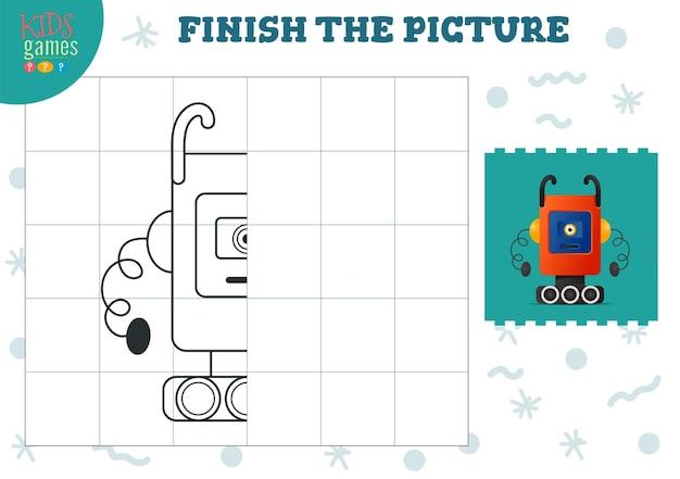Bildvektorillustration kopieren. komplettes und färbendes spiel für vorschul- und schulkinder. niedlicher alien- oder roboterumriss für zeichen- und bildungsaktivitäten