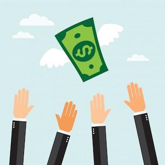 Bill-dollar mit den flügeln, die in den himmel fliegen