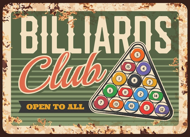 Billard pool snooker club metallplatte rostig oder retro-poster