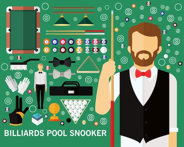 Billard pool snooker concept hintergrund. flache symbole.