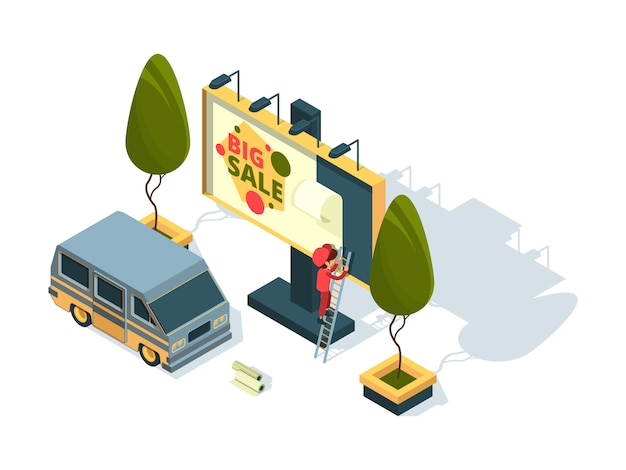 Billboard isometrisch. werbeinstallationsbrett und arbeitsmaschine im freien bereiten malkonzept vor