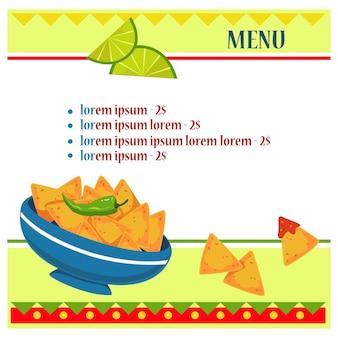 Billet-layout für das menü im mexikanischen stil peperoni nachos und limette vektorbanner