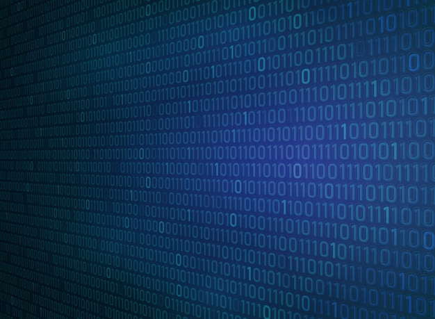 Binär null eins des blauen hintergrundes der technologiesteigung.