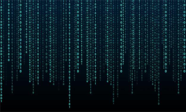Binärcode auf schwarzem hintergrund