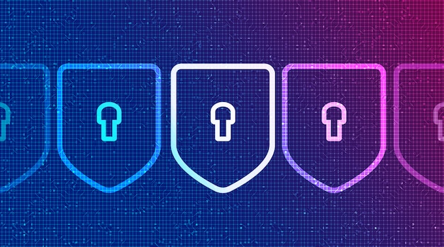 Binäre technologie schilde sicherheit, schutz und verbindung konzept hintergrund design.vector illustration.