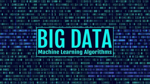 Binärer code, blaue ziffern auf dem computerbildschirm. big data machin