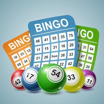 Bingo ball und tickets hintergrund. illustration