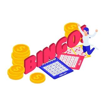 Bingo-lotterie-bunte isometrische zusammensetzung mit glücklichem charakter der kartenmünzen