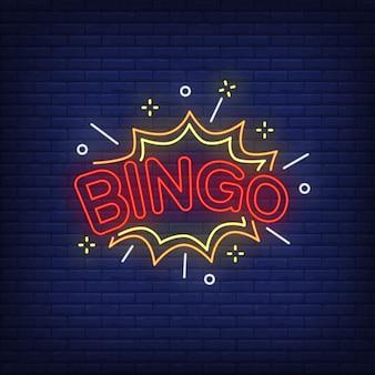 Bingo neon schriftzug und explosion