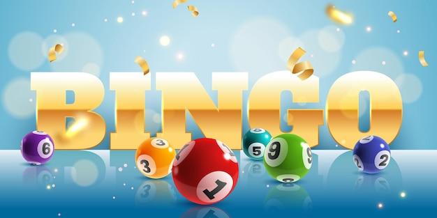 Bingo. realistische lotteriekugeln und goldenes konfetti-poster mit text, glücklicher großer gewinn. lotto-spiel internet freizeit, vektor-glücksspiel-konzept hintergrund