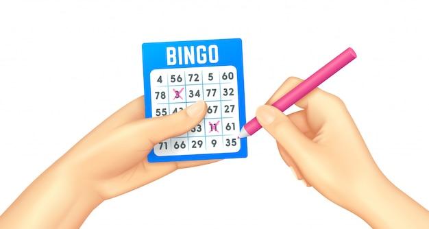 Bingokarte in menschlichen händen realistisch