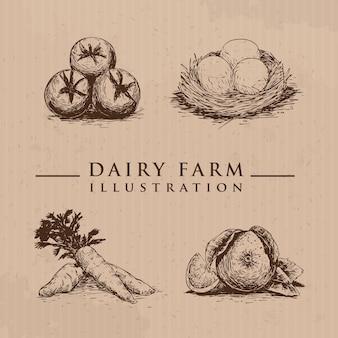 Bio-bauernhofprodukte im sketch-stil-vektor-illustration vieh von hand gezeichnet eier karotten