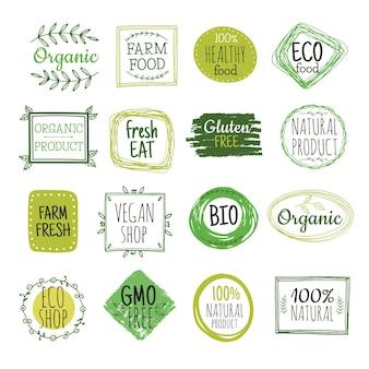 Bio-etiketten. vegane grüne öko-lebensmittel, glutenfreie etiketten für natürliche landwirtschaftliche produkte. frische organische gesunde essen abzeichen vektorsatz. illustration bio und öko abzeichen grün