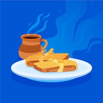 Bio flache design köstliche tamales