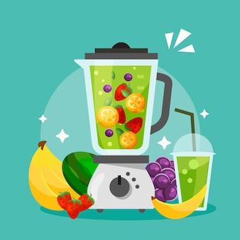 Bio flacher smoothie im mixerglas