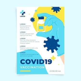 Bio-flat-coronavirus-impfflyer Kostenlosen Vektoren