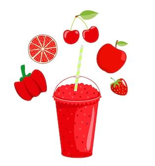 Bio-frucht-smoothie mit fruchtzutaten rund um das getränk cartoon-fruchtshake-smoothie