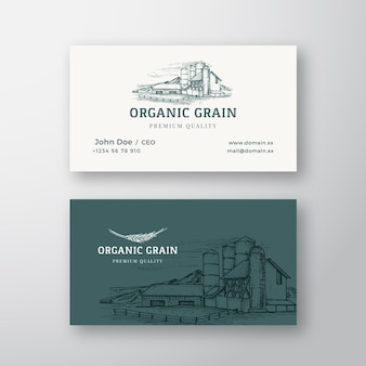 Bio-getreidefarm-landschafts-abstraktes vintage-logo