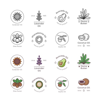 Bio-kosmetik-öllinie für hautpflege und schönheit sowie farbenfrohe embleme und logos