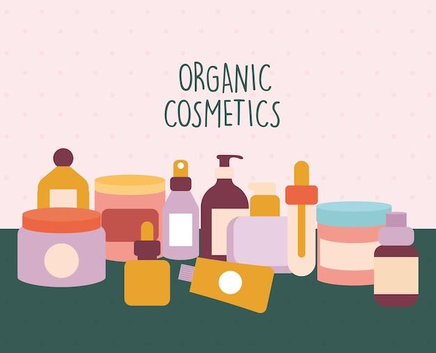 Bio-kosmetik-schriftzug mit einem bündel von bio-kosmetik-ikonen