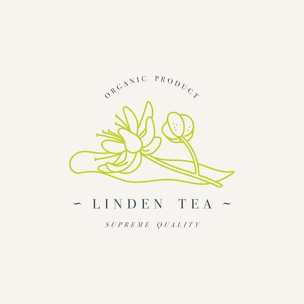 Bio kräuter linden tee. logo-vorlage im trendigen linearen stil isoliert