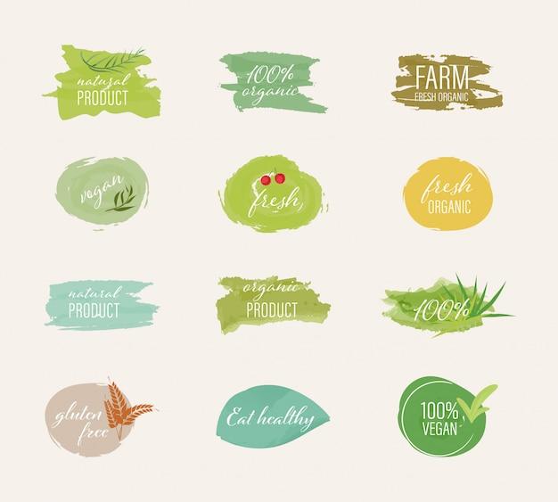 Bio-label und natürlicher label-aquarell-pinselstil.