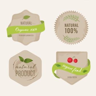 Bio-label und natürliches label in grüner farbe.