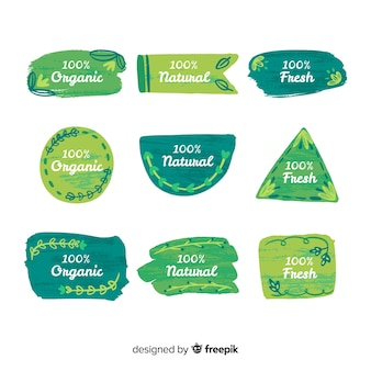 Bio-lebensmittel-labelsammlung mit pinselstrich