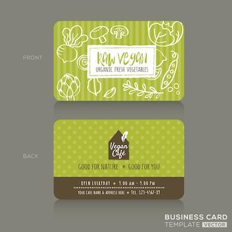 Bio-lebensmittel-shop oder vegane café-visitenkarte design-vorlage mit gemüse und früchte doodle hintergrund