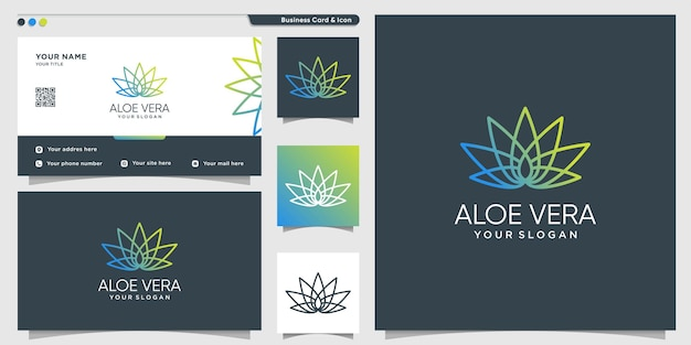 Bio-logo der natur mit modernem linienkunststil premium-vektor
