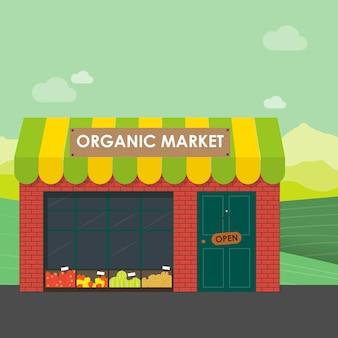 Bio-marktkonzept. vektor-illustration eines ladens mit einem korb mit bio-gemüse und obst. lieferung von naturprodukten aus dem garten direkt in den shop.