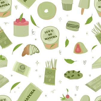 Bio matcha tee seamless pstern. matcha latte, cupcake, rolle, pulver, makrone, tee. vektor handgezeichnete cartoon-illustration. alle elemente sind isoliert.