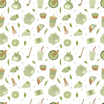 Bio matcha tee seamless pstern. matcha latte, cupcake, rolle, pulver, makrone, tee.