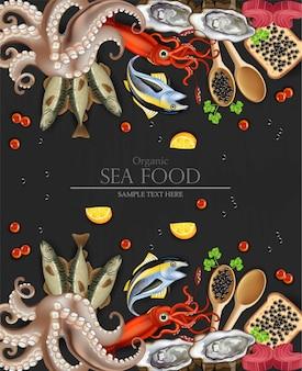 Bio-meeresfrüchte-menü mit tintenfisch und oktopus