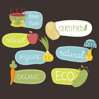 Bio-, öko- und bio-lebensmittel-etiketten festgelegt.