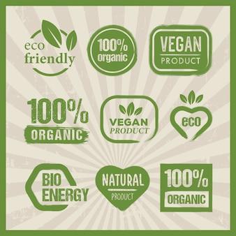 Bio-öko-vegan-symbolsammlung