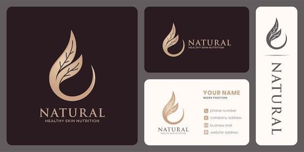 Bio-öl-logo-design für schönheitsprodukte oder gesundes öl.