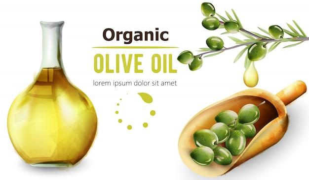 Bio-olivenöl in der flasche