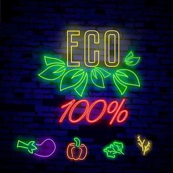 Bio-produkt im neonstil. neonsymbol, helles leuchtendes zeichen